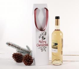 Caja de cartón para vinos con estampado navideño