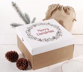 Quadratische Dose mit Deckel und Weihnachtsdruck