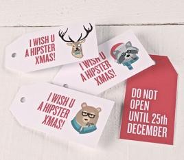 Etichette regalo stampate Hipster Xmas