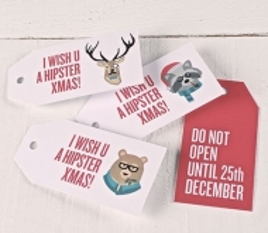 Etiquetas regalo impresas Hipster Xmas