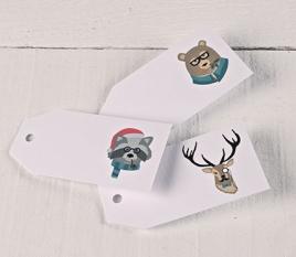 Etichette regalo stampate Animaletti hipsters