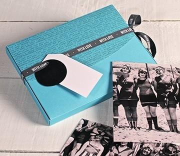 Light blue box for photos