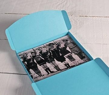 Scatola per fotografie in azzurro