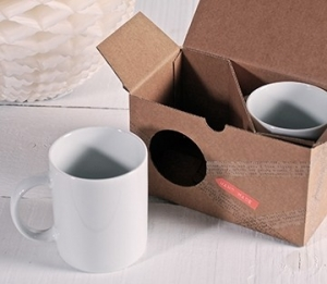 Caja de cartón para dos tazas