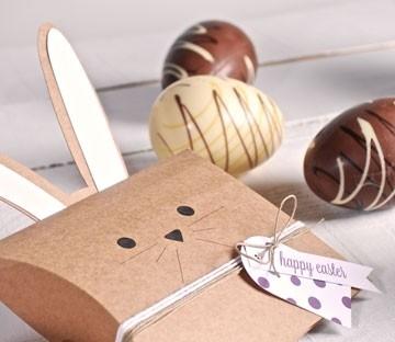 Cardboard box with bunny ears