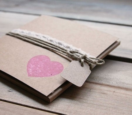 Rustic box in kraft colour with cord and heart