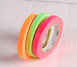 3 washi tapes colores flúor