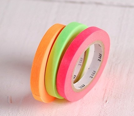 3 washi tapes colores flúor