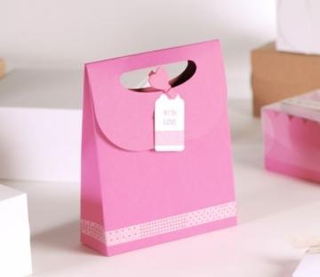 """Sacchetto regalo rosa """"with love"""""""