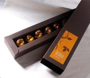 Elongated box for chocolates