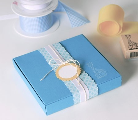 Blue Gift Box for Baptisms or Baby Showers