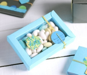 Cajita azul para bautizos
