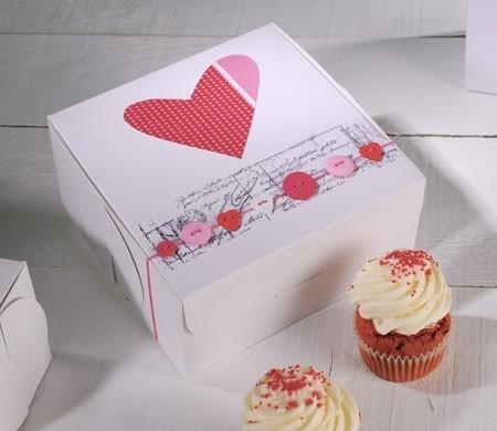 caja para cupcakes con decoracin corazn