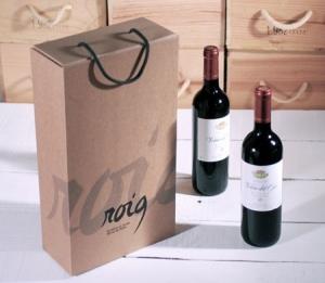 Caja para dos botellas serigrafiadas