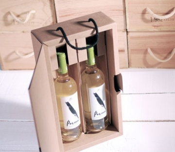 Decorated box for two bottles