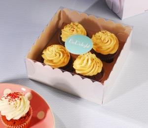 Caja para cuatro cupcakes para tiendas