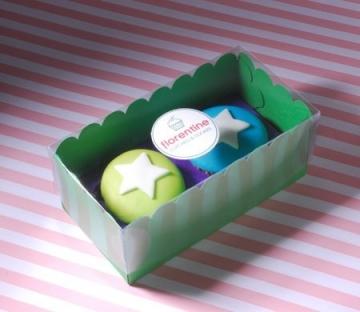 Cajita de colores para dos cupcakes