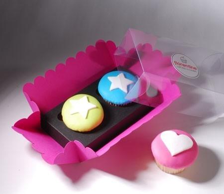 Caja para dos cupcakes rosa y negra