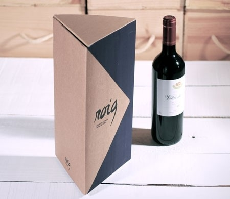 caja regalo triangular para botellas