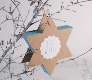Blue and kraft colour box in the shape of a star