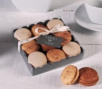 Caja para macarons con cinta impresa