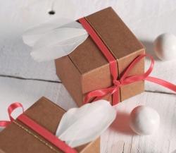 Kleine quadratische Geschenkbox mit Federn