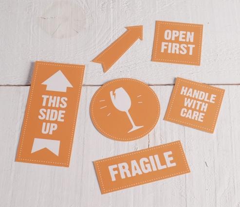 Etiquetas Frágil para embalajes