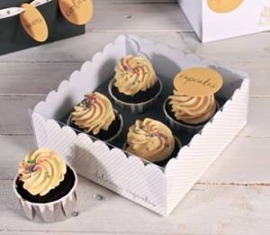 Caja transparente para 4 cupcakes