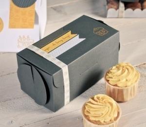 Scatola grigia per due cupcake