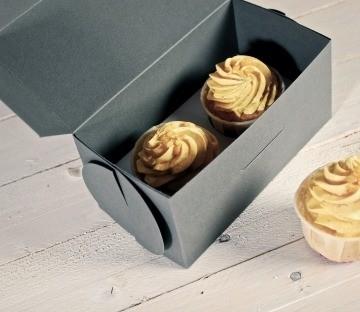 Caja gris para dos cupcakes