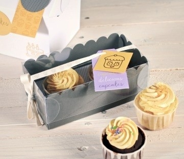 Small box for 2 cupcakes with clear lid