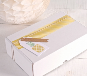 """Tropical box with label """"Pineapple"""", and yellow washi tape"""
