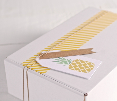 "Tropical box with label ""Pineapple"", and yellow washi tape"