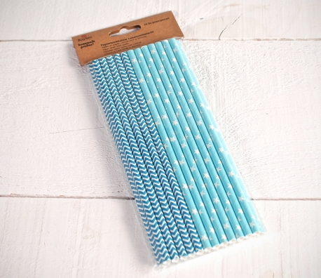 Blue decorated paper straws