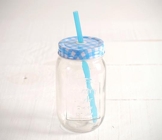 Crystal jar with straw hole (400ml)