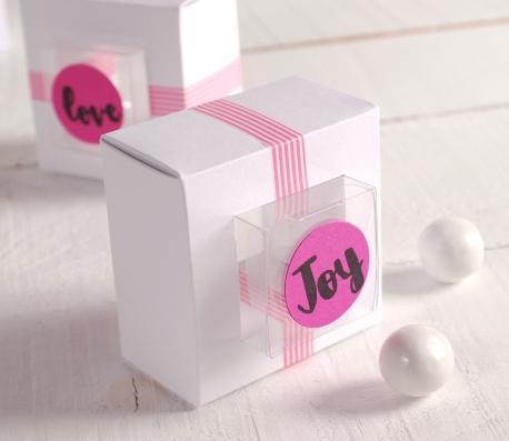Caja regalo con marco en blanco y rosa