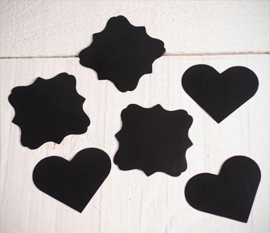 Etiquetas de pizarra adhesivas con formas