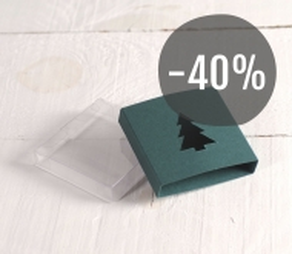 Caja verde con abeto