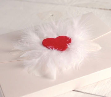 Box with heart and feathers