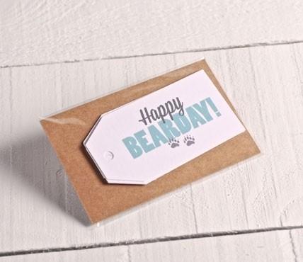 """Bedruckte Etiketten für Geburtstage """"Happy BEARDAY"""""""