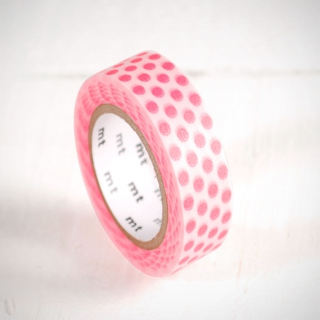 Washi tape de topos rosa flúor