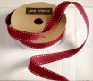 Maroon grosgrain ribbon with backstitches
