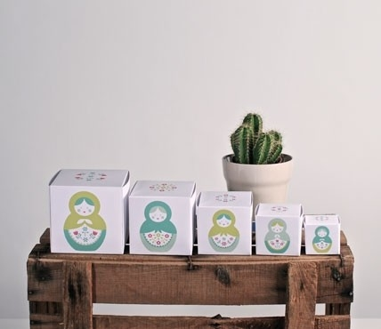 Printed boxes. Matryoshka dolls