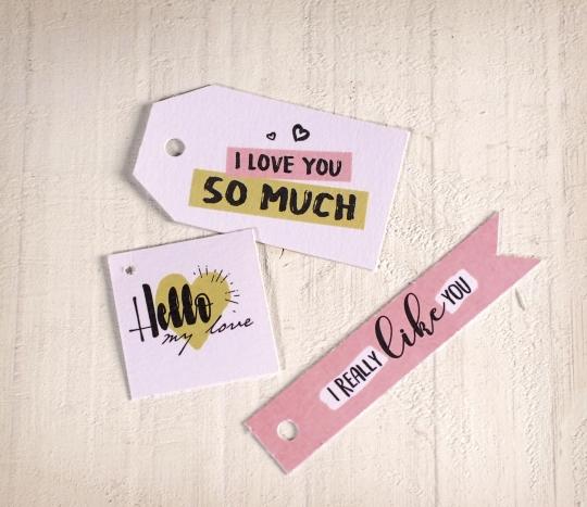 Kit di etichette stampate con messaggi d'amore