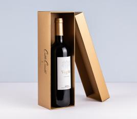 Scatola di vino foderata singola con coperchio