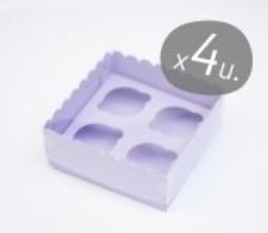 Set da 4 scatole di cartone per 4 cupcake
