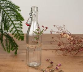 Botella de cristal para agua con tapón mecánico
