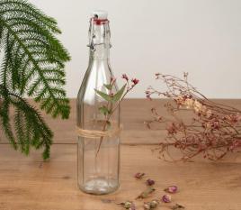 Bottiglia di vetro per acqua con tappo meccanico