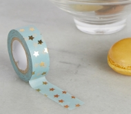 Washi tape celeste con stelle dorate