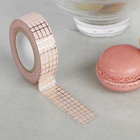 Washi tape rosa con griglia dorata